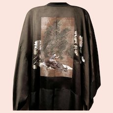 Superb, Vintage, Lined Silk Kimono with Gold Thread Embroidery