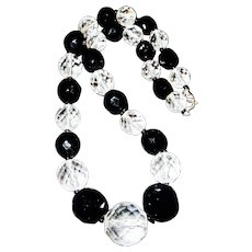 Faceted Clear and Black Crystal Graduated Necklace