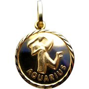 18K Double-Sided Aquarius/Good Luck Charm or Pendant