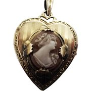 Signed 'Hayward' GF Cameo Heart Shaped Locket