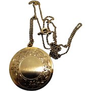 'Lestage' Engraved GF Locket and Chain