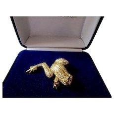 JBK (Jacqueline Bouvier Kennedy) Camrose & Kross Leaping Frog Brooch