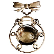Rose Gold-Filled Hanging Watch Case with Bow Brooch