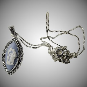Wedgwood and Marcasite Sterling Silver Pendant and Chain