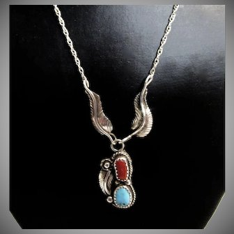 Native American Navajo Sterling Silver Red Coral and Turquoise Necklace