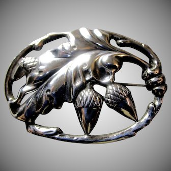 DANECRAFT Sterling Silver Acorn Brooch