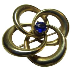Antique Victorian 14K Gold and Sapphire Love Knot Brooch