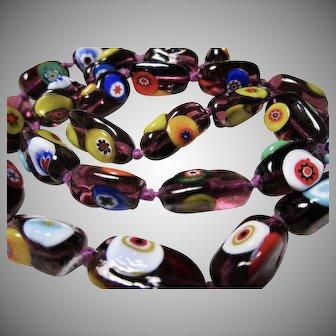 Italian Venetian Millefiori Amethyst Glass Bead Necklace