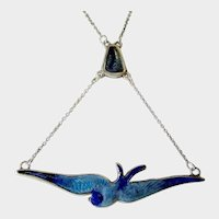 CHARLES HORNER Enamel Bluebird/Swallow Sterling Silver Drop Pendant Necklace