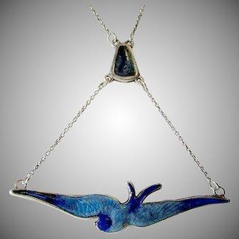 CHARLES HORNER Enamel Bluebird/Swallow Sterling Silver Drop Pendant Necklace