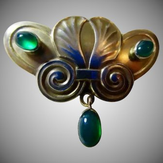 Important JOSEF MARIA OLBRICH Secessionist/Art Nouveau Chrysoprase Gingo Biloba Leaf Gilt Silver Brooch