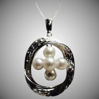 MIKIMOTO  Signed Akoya Cultured Pearl Sterling Pendant and Sterling Chain