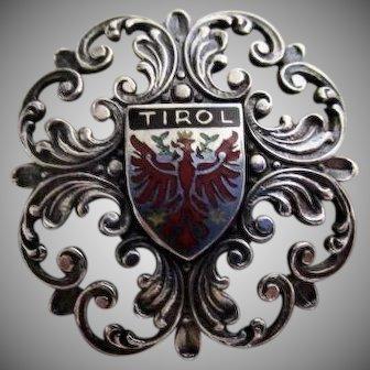 Tirol, Austria, Enamel Eagle Crest and Silver Brooch