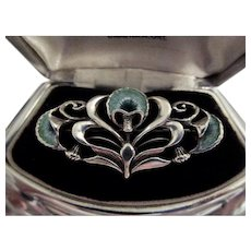 Malcolm Gray Signed Art Nouveau Designed Sterling Silver and Enamel Brooch