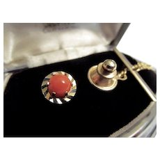 Natural Coral and GF 'Swank' Tie Tack/Pin