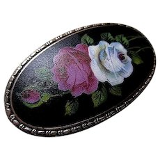 Victorian Hand Painted Roses Porcelain Brooch