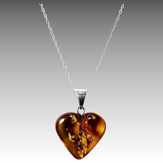 Baltic Amber Heart Pendant on Sterling Silver Chain