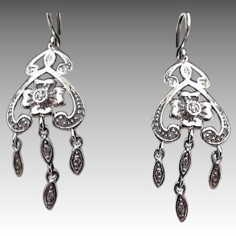 9ct. British White Gold and Diamonds Chandelier Earrings