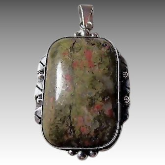 Large Unakite Stone and Sterling Silver Pendant