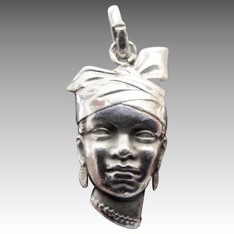 Guadeloupe Woman with Headwrap or Kerchief Sterling Silver Charm