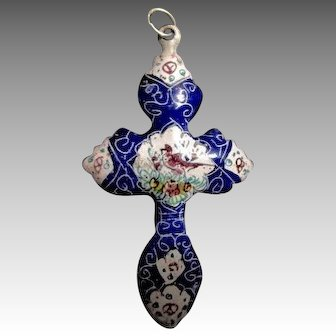 Hand Painted Persian Cross Pendant with Bird