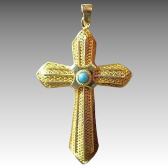 GF Sterling Filigree Cross with Persian Turquoise