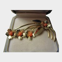 Vermeil (GF Sterling Silver) and Coral Brooch