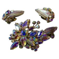 Superb SHERMAN Flower and Leaf Aurora Borealis Brooch and Earring Set