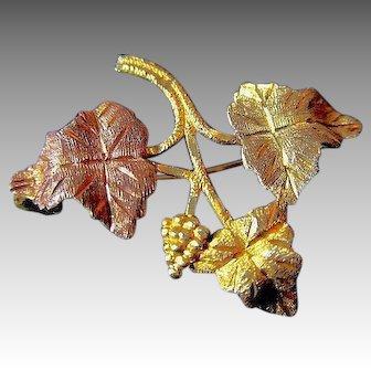 Black Hills 10K Tri-Color Gold Grapes and Leaf Brooch