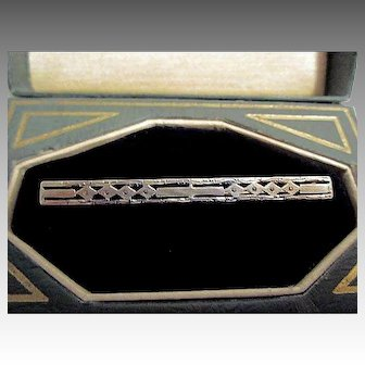 14K Yellow and White Gold Art Deco Brooch or Bar Pin