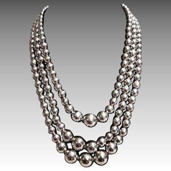 Graduated, Triple Strand of Sterling Silver Beads Necklace from Mexico