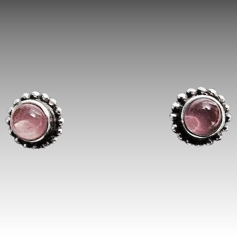 Georg Jensen 'Moonlight Blossom' No. 9 Sterling Silver and Rose Quartz Stud Earrings