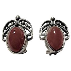 Georg Jensen Denmark Sterling Silver and Carnelian Annual Heritage Clip Earrings