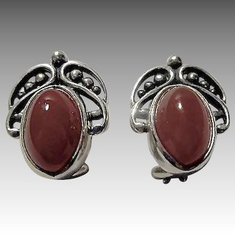 Georg Jensen Sterling Silver and Carnelian Annual Heritage Clip Earrings
