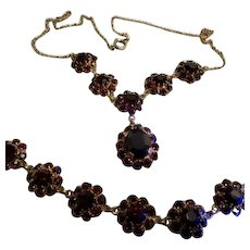 Faux Garnet Crystals in a GF Setting Necklace and Bracelet Set
