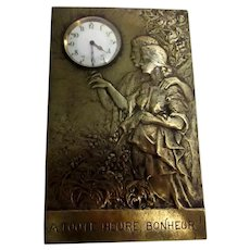 French Bronze Art Nouveau Clock