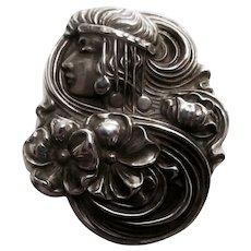 Signed Sterline Art Nouveau Brooch