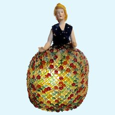 German Half Doll/ Pin Cushion Doll Lamp with Beaded Glass Flower Skirt