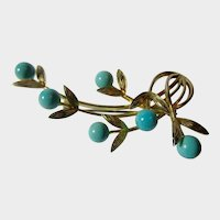 Gilt Silver and Turquoise 'Avon of Belleville' Leaf Spray Brooch