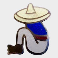 Mexico Sterling Guilloche Enamel Brooch of a Sitting Mexican Man with a Sombrero signed EDF