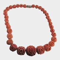 1920'2 Carved Coral Color Galalith (Casein) Graduated Flower Bead Necklace