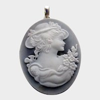 Sterling Silver, Blue Agate, Hardstone Cameo Pendant
