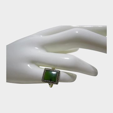 English 9ct and Sterling Silver Jade and Marcasite Ring