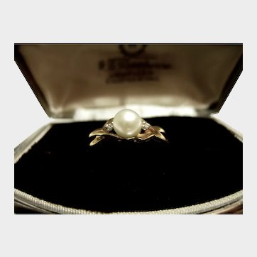 10K YG Cultured Pearl Ring with Diamonds