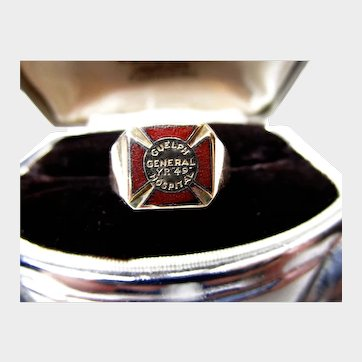 1949 10K Nurse's Red Cross Ring  from Guelph General Hospital, Ontario, Canada