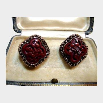 Chinese Export Cinnabar Earrings