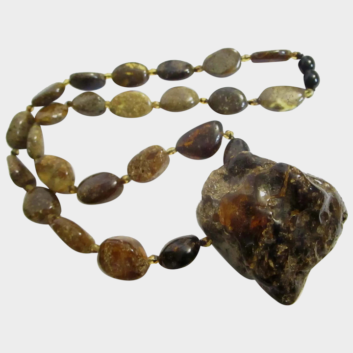 Baltic Green Amber Nugget Necklace