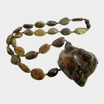 Scarce Natural Baltic Green Amber Nugget Necklace from Poland