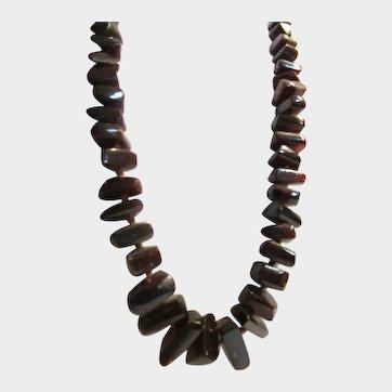 71.3 Gr. Natural Baltic, Deep Reddish Brown Amber Nugget Necklace