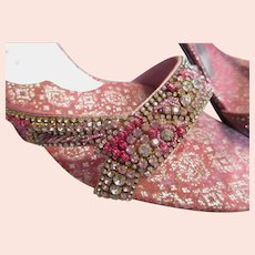 1970's Pink/Silver Brocade High Heel Shoes with Rhinestones & Embroidery